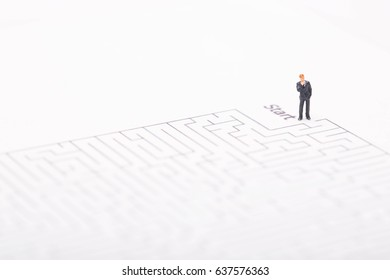 Businessman entering in maze