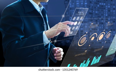 Businessman entering passcode on modern virtual touch screen as an access to investment risk management information and return on investment analysis or business performance.