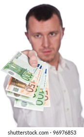 Businessman with Euros in hand isolated on white