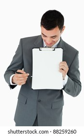 Businessman explaining his notes against a white background