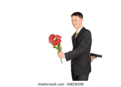 Businessman fail in work and love. on white background