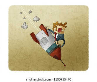 Businessman falling down on top of a rocket. Business failure, the rocket fall down. Concept of failed start up