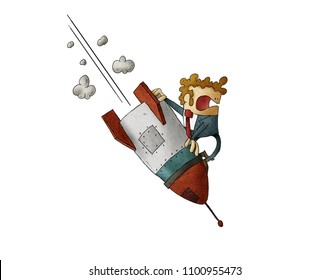 Businessman falling down on top of a rocket. Business failure, the rocket fall down. Concept of failed start up. isolated