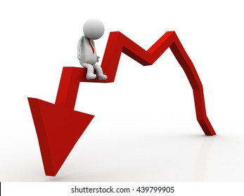 Businessman is falling from a graphic chart going downwards
