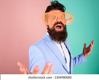 Businessman fed up being serious. Enjoy being yourself. Sincere and natural. Hipster formal clothes having fun. Just want to have fun. Man with beard and mustache wear funny eyeglasses. Fun and relax.