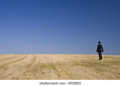 businessman in a field looking high to the future