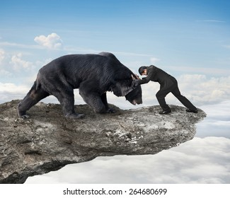 Businessman fighting against black bear on cliff with sky cloudscape background