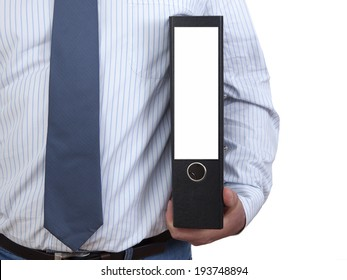 Businessman with file folders