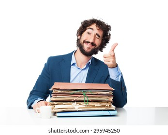 businessman with files okay concept