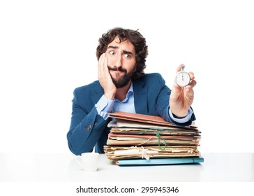 businessman with files and stopwatch