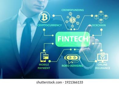 Businessman in financial technology fintech concept