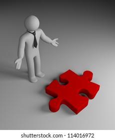 Businessman find puzzle(idea)