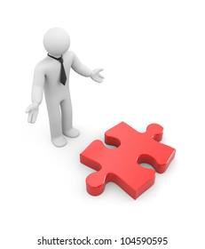 Businessman find puzzle(idea). Image contain clipping path
