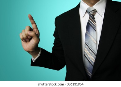 businessman finger click ,Business Man pushing on a touch screen interface