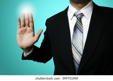 businessman finger click, businessman pressing button contact on virtual screens,business, technology, internet and networking concept - pressing button with contact on copy space