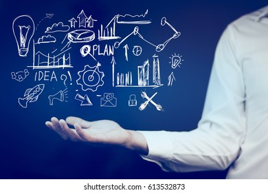 businessman finger touching in  social network concept