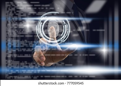 Businessman Fingerprint scan for support security access with biometrics identification over the blurred coding background, Business Technology sceurity Concept.