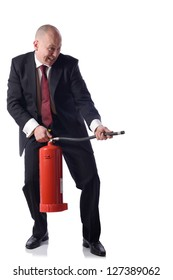 Businessman with fire extinguisher isolated on white. concept of putting out fires resolving problems in business.
