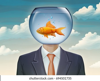 Businessman with a fishtank as his head. Digital illustration.