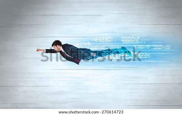 Businessman flying super fast with data numbers left behind concept