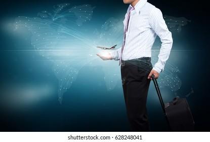 Businessman focusing air transport business.