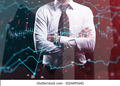 Businessman with folded arms on abstract forex background. Finance and banking concept. Double exposure