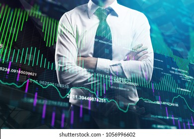 Businessman with folded arms standing on abstract forex chart background. Trade and investment concept. Double exposure