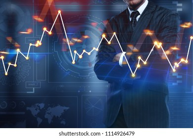 Businessman with forex chart standing on abstract blurry background. Broker and technology concept. Double exposure