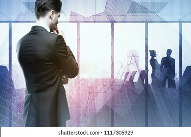Businessman with forex chart standing on abstract office background. Broker and analysis concept. Double exposure