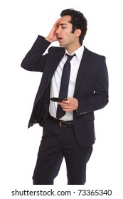 Businessman forgeting about a meeting and having problems.
