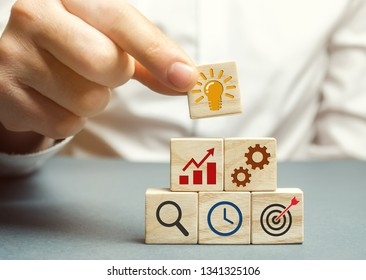 Businessman forms a business strategy. The concept of developing innovative technologies. Action plan, management, research, marketing. The goal to increase and maximize profit. Enterprise development