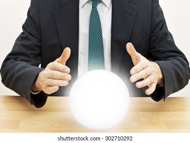Businessman fortune teller. Budget, financial or investment planning etc.