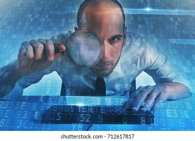 Businessman found a backdoor access on a computer. Concept of internet security