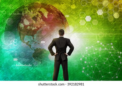 Businessman in front of holographic screen