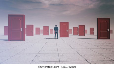 Businessman in front of multiple doors . The concept of hard choices.