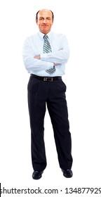 businessman full length isolated on white