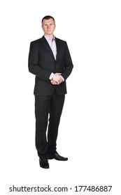Businessman full length portrait isolated on white
