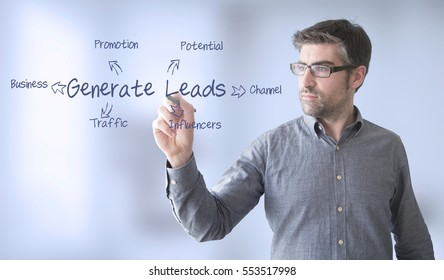 businessman  with generate leads  diagram