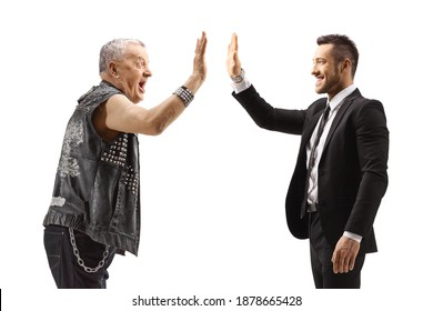 Businessman gesturing high-five with a mature punk rocker isolated on white background
