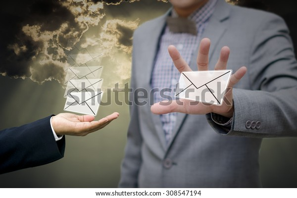 Businessman get email in hand, Communication concept
