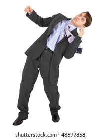 Businessman gets hit in the face, isolated on a white background