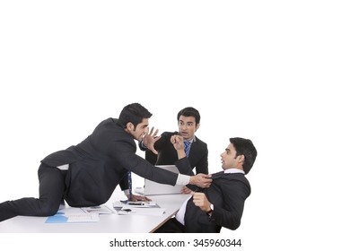 Businessman getting violent with fellow businessman