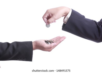 Businessman give money to partner with white background