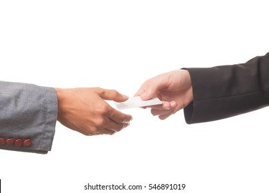 Businessman gives business card. Business theme.