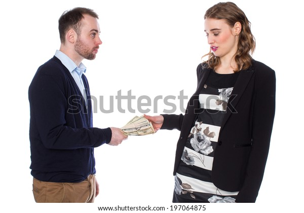 Businessman gives businesswoman cash but reluctantly takes it