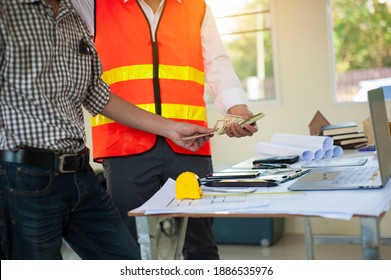 The businessman gives money to the contractor as a budget for starting the construction project. Architects get paid to design the house.