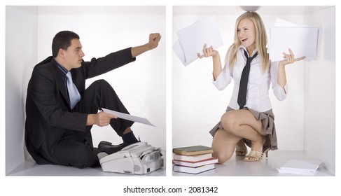 businessman gives papers to the overworked blonde businesswoman in the cube