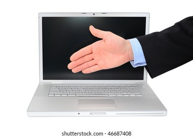 Businessman is giving a handshake in front of modern technologies isolated over white