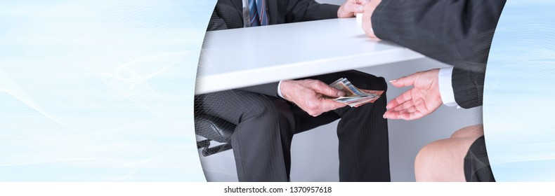 Businessman giving money under a table. panoramic banner