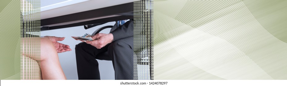 Businessman giving money under a table; panoramic banner